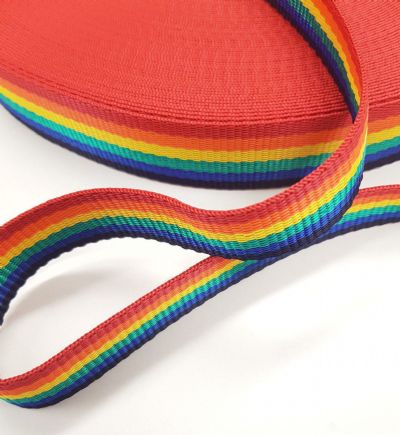 Bright Rainbow Webbing 50mt Reel 25mm Wide Upholstery Sewing Craft Braid Border
